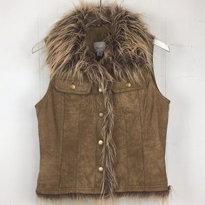 Wilson Leather Insulated Fur Trim Vest Brown Sz M